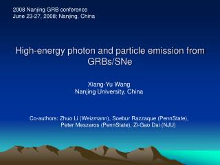 High-energy photon and particle emission from GRBs/SNe