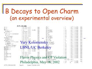 B Decays to Open Charm an experimental overview