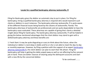 Locate for a qualified bankruptcy attorney Jacksonville, Fl