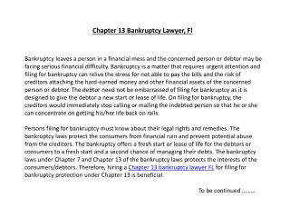 Chapter 13 Bankruptcy Lawyer, Fl