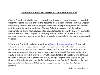 Hire Chapter 7, Bankruptcy Lawyer - FL for a fresh lease of