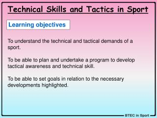 Technical Skills and Tactics in Sport