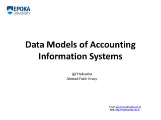Data Models of Accounting Information Systems