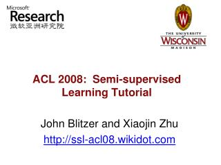 ACL 2008:  Semi-supervised Learning Tutorial