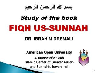 American Open University In cooperation with  Islamic Center of Greater Austin  and Sunnahfollowers.net