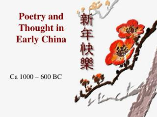 Poetry and Thought in Early China