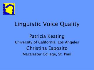 Linguistic Voice Quality