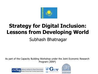 Strategy for Digital Inclusion: Lessons from Developing World