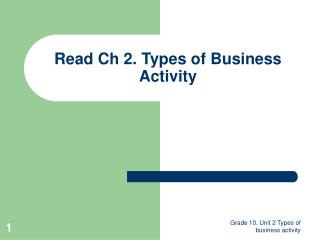 Read Ch 2. Types of Business Activity