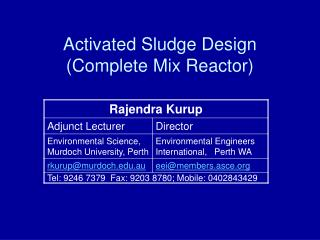 Activated Sludge Design  (Complete Mix Reactor)