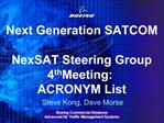 Next Generation SATCOM  NexSAT Steering Group 4th Meeting: ACRONYM List