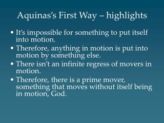 Aquinas s First Way   highlights