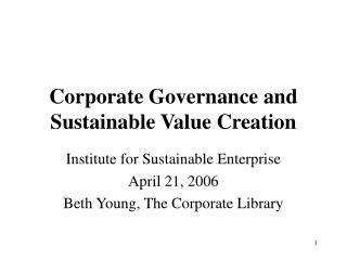 Corporate Governance and Sustainable Value Creation