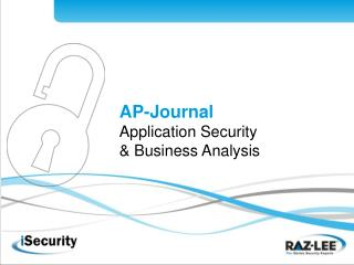 AP-Journal Application Security  & Business Analysis