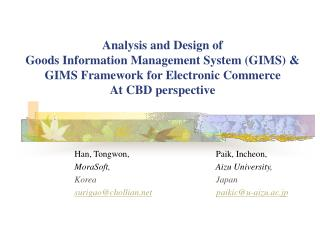 Analysis and Design of  Goods Information Management System (GIMS) & GIMS Framework for Electronic Commerce  At CBD pers