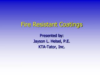 Fire Resistant Coatings