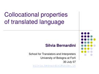 Collocational properties of translated language