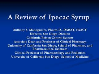 A Review of Ipecac Syrup