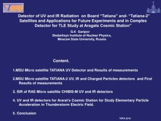 Parameters of the  ''Tatiana'' satellite Mass, kg                         25 Power, Wt                        7