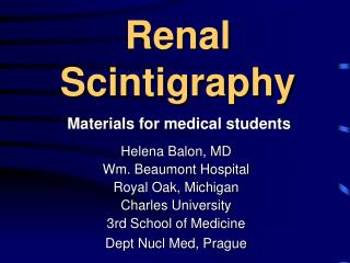 Renal Scintigraphy