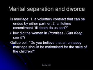 Marital separation and divorce