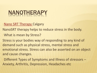Nano SRT Therapy - Arthritis & Anxiety Treatment Calgary