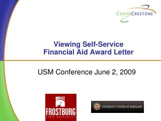 Viewing Self-Service  Financial Aid Award Letter