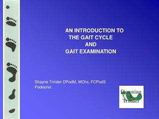 AN INTRODUCTION TO  THE GAIT CYCLE  AND  GAIT EXAMINATION Shayne Trinder DPodM, MChs, FCPodS Podiatrist