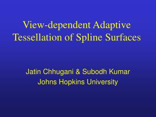 View-dependent Adaptive Tessellation of Spline Surfaces
