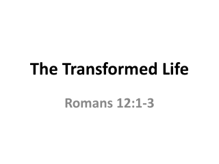 Transformed by God s Standards