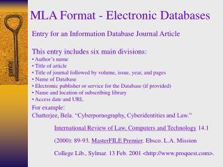 MLA Format - Electronic Databases