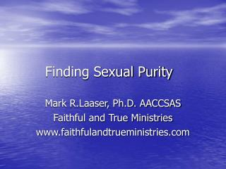 Finding Sexual Purity