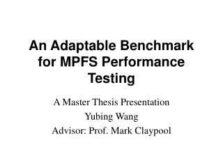 An Adaptable Benchmark for MPFS Performance Testing