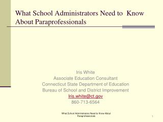 What School Administrators Need to  Know About Paraprofessionals