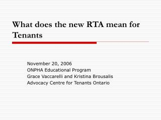 What does the new RTA mean for Tenants
