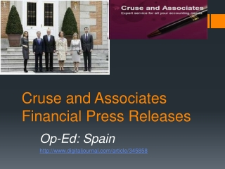 Cruse and Associates Financial Press Releases | Op-Ed: Spain
