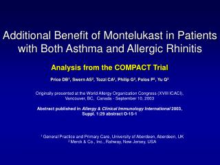 Additional Benefit of Montelukast in Patients       with Both Asthma and Allergic Rhinitis