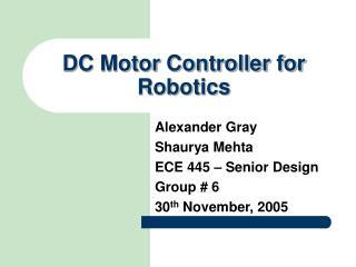 DC Motor Controller for Robotics