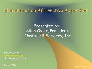 Elements of an Affirmative Action Plan
