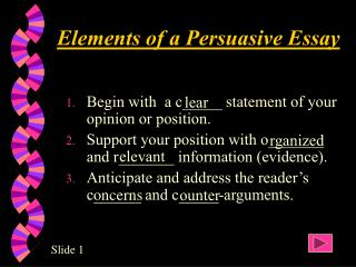 Elements of a Persuasive Essay