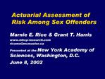 Actuarial Assessment of Risk Among Sex Offenders