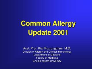 Common Allergy Update 2001