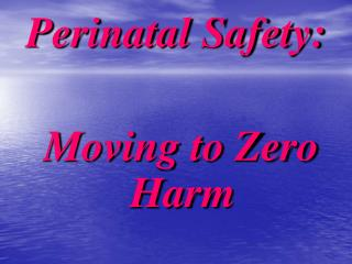 Perinatal Safety: Moving to Zero Harm