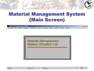 Material Management System (Main Screen)