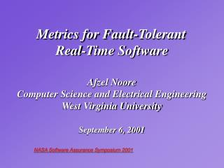 Metrics for Fault-Tolerant  Real-Time Software