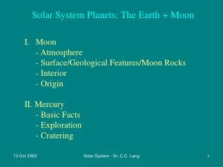 Solar System Planets: The Earth + Moon