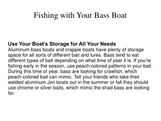 Fishing with Your Bass Boat