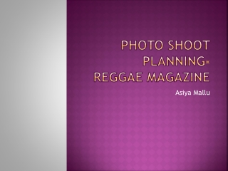 Reggae Magazine Photo-shoot Planning