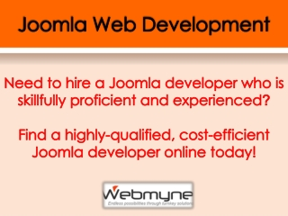 Joomla Plugin Development by Webmyne System