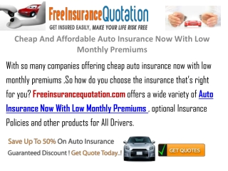 Cheap And Affordable Auto Insurance Now With Low Premium